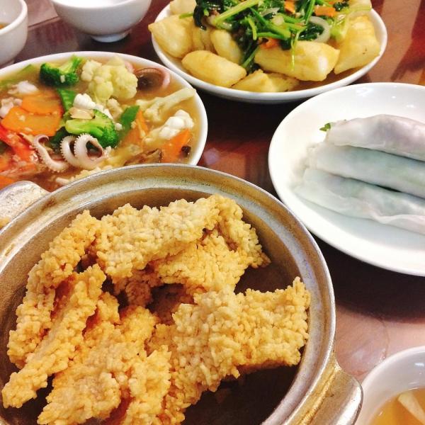Cơm cháy sốt nấm và hải sản 190k
